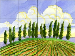 Cypress in the Clouds by Robin Wethe Altman Ceramic Tile Mural RWA036