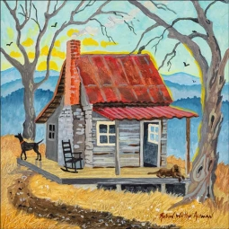 Appalachian Cabin Sunrise by Robin Wethe Altman Accent & Decor Tile RWA041AT