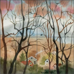 Asheville Winter Trees by Robin Wethe Altman Ceramic Tile Mural RWA043