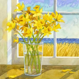 Daffodils in the Window by Robin Wethe Altman Accent & Decor Tile RWA054