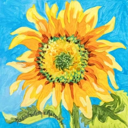 Einstein Sunflower by Robin Wethe Altman Accent & Decor Tile RWA055AT