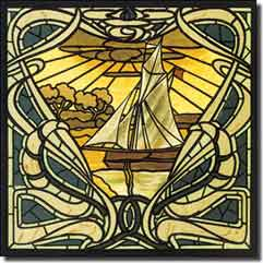 "Sailboat Nautical Floor Accent Tile 12"" x 12"" - SGD080AT"