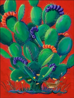 Libby Prickly Cactus Ceramic Accent & Decor Tile - SLA003AT