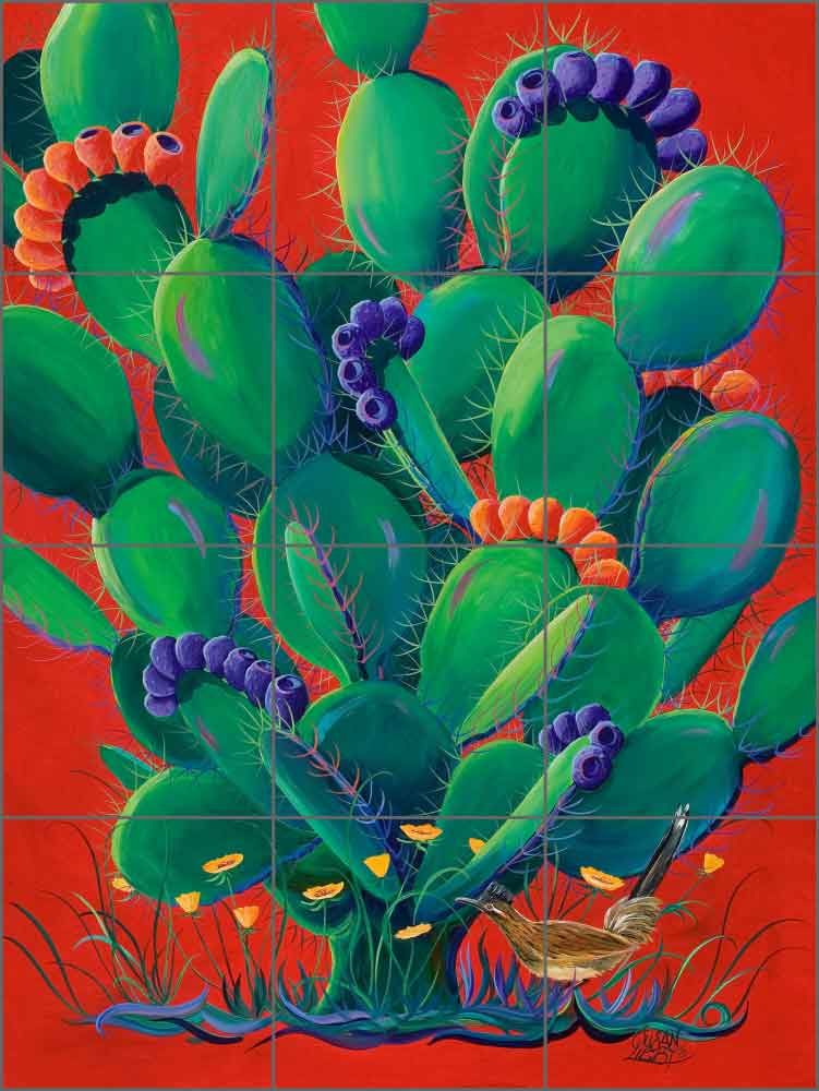 Prickly Bouquet by Susan Libby Ceramic Tile Mural - SLA003