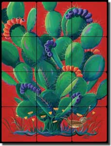 "Libby Prickly Cactus Tumbled Marble Tile Mural 18"" x 24"" - SLA003"
