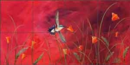 "Libby Hummingbird Bird Glass Tile Mural 24"" x 12"" - SLA005"