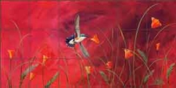 "Libby Hummingbird Bird Glass Tile Mural 36"" x 18"" - SLA005"