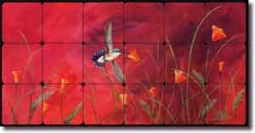 "Summer Reds by Susan Libby - Bird Tumbled Marble Tile Mural 24"" x 12"""