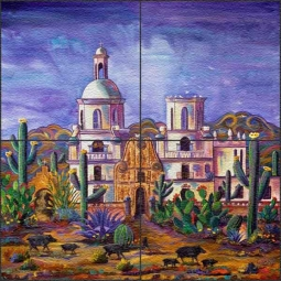 San Xavier Mission Visitors by Susan Libby Floor Tile Mural - SLA007