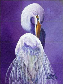 Libby Egret Bird Glass Wall & Floor Tile Mural SLA010