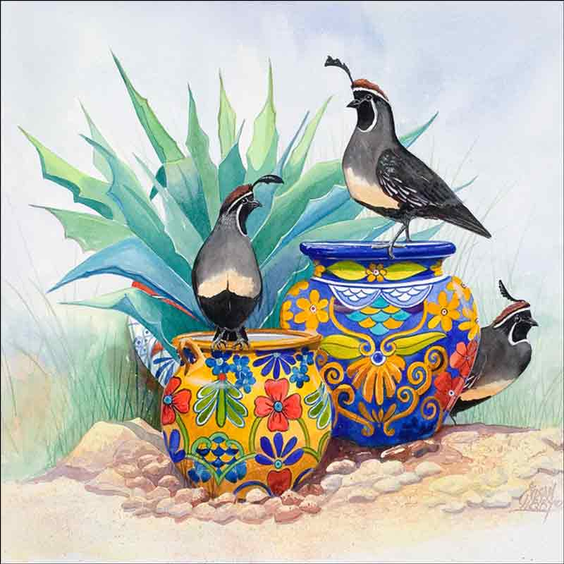 Garden Lookout by Susan Libby Ceramic Accent & Decor Tile SLA012AT