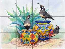 "Libby Southwest Birds Glass Tile Mural 24"" x 18"" - SLA012"