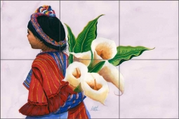 Lily Lady by Susan Libby Ceramic Tile Mural SLA014