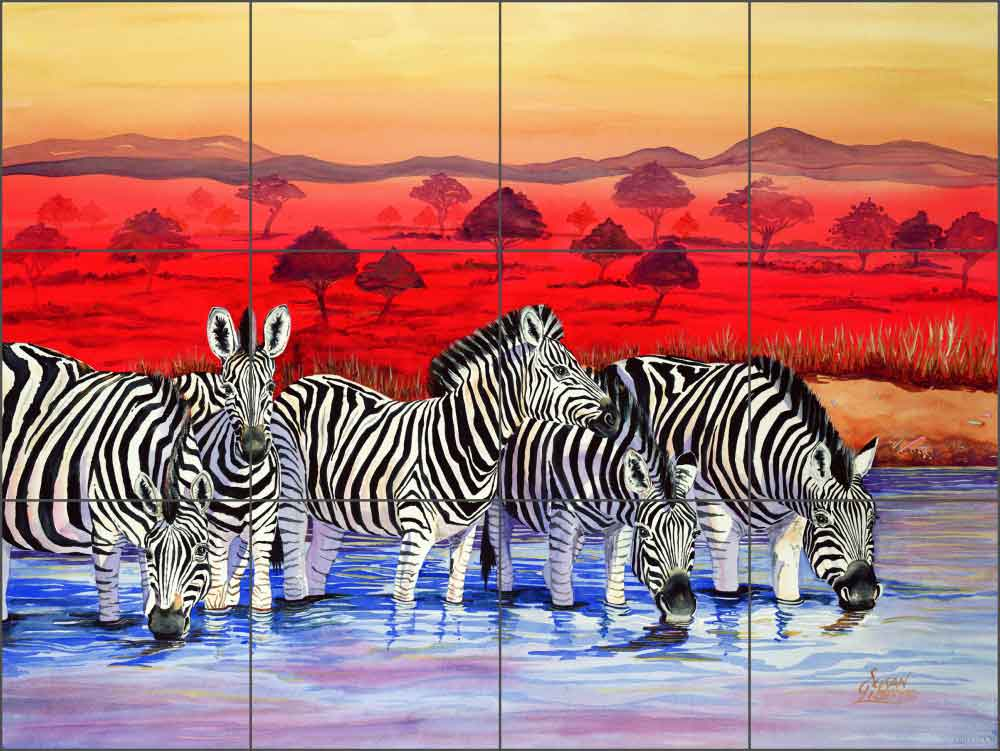 "Libby Animals Zebras Glass Wall Floor Tile Mural 24"" x 18"" - SLA015"