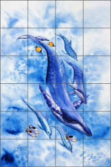 Sea Ballet by Susan Libby Glass Wall & Floor Tile Mural - SLA017