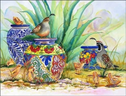 Quail and Pots by Susan Libby Ceramic Accent & Decor Tile - SLA020AT
