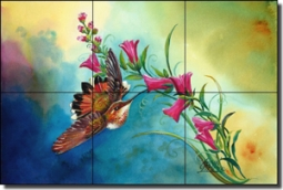 "Libby Hummingbird Bird Glass Tile Mural 18"" x 12"" - SLA025"