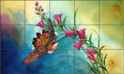 "Libby Hummingbird Bird Glass Tile Mural 30"" x 18"" - SLA025"