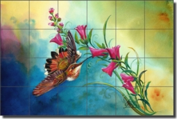 "Libby Hummingbird Bird Glass Tile Mural 36"" x 24"" - SLA025"