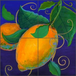 Garden Lemon by Susan Libby Ceramic Tile Mural SLA039