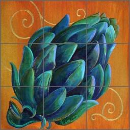 Artichoke Beauty by Susan Libby Ceramic Tile Mural - SLA041