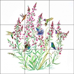 Hummingbirds in the Air by Susan Libby Ceramic Tile Mural - SLA047