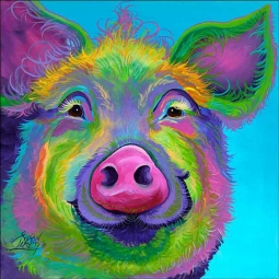 Sweet Pea the Pig by Susan Libby Accent & Decor Tile SLA061AT