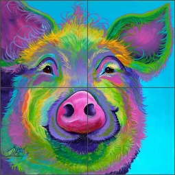 Sweet Pea the Pig by Susan Libby Ceramic Tile Mural SLA061