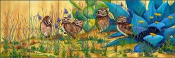 Burrowing Owls by Susan Libby Ceramic Tile Mural SLA067