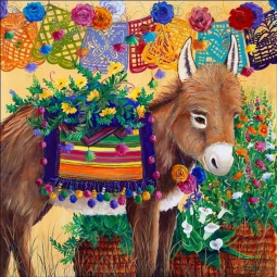 Fiesta Burro by Susan Libby Accent & Decor Tile SLA074AT