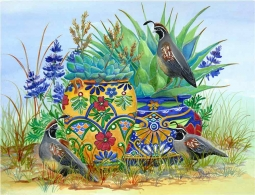 Morning Quail and Pots by Susan Libby Accent & Decor Tile SLA077AT
