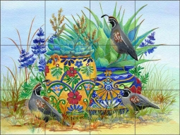 Morning Quail and Pots by Susan Libby Floor Tile Mural SLA077