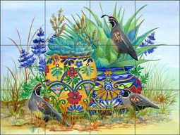 Morning Quail and Pots by Susan Libby Ceramic Tile Mural SLA077