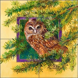 Spotted Owl by Susan Libby Ceramic Tile Mural SLA085