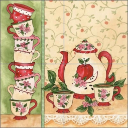 Apple Tea Party by Sara Mullen Ceramic Tile Mural - SM002