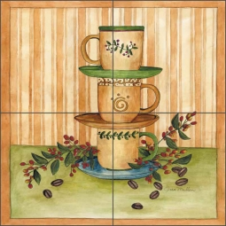 Coffee Time II by Sara Mullen Ceramic Tile Mural - SM003