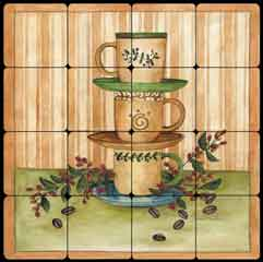 "Mullen Coffee Cups Tumbled Marble Tile Mural 16"" x 16"" - SM003"