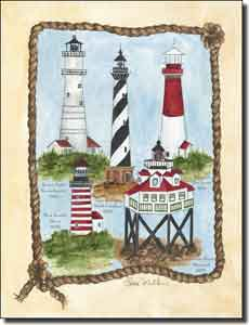"Mullen Nautical Lighthouse Ceramic Accent Tile 6"" x 8"" - SM004AT"