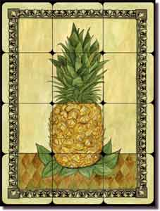 "Pineapple I by Sara Mullen - Fruit Tumbled Marble Tile Mural 12"" x 16"""