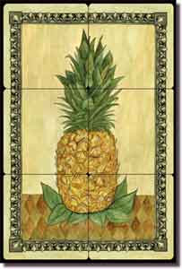 "Pineapple by Sara Mullen - Fruit Tumbled Marble Tile Mural 8"" x 12"""