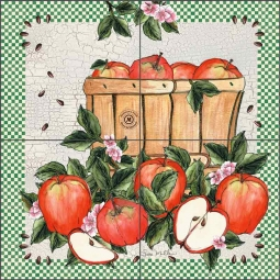 Apples for Friends I by Sara Mullen Ceramic Tile Mural SM011