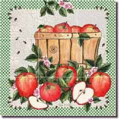 "Mullen Apples Fruit Glass Tile Mural 18"" x 18"" - SM011"