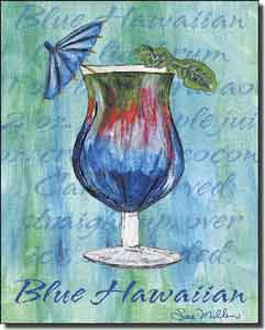 "Mullen Blue Hawaiian Cocktail Ceramic Accent Tile 8"" x 10"" - SM012AT"
