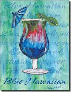 "Mullen Blue Hawaiian Cocktail Ceramic Accent Tile 6"" x 8"" - SM012AT"