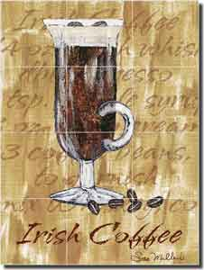 "Mullen Irish Coffee Cocktail Ceramic Tile Mural 12.75"" x 17"" - SM014"
