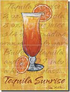 "Mullen Tequila Sunrise Cocktail Ceramic Tile Mural 12.75"" x 17"" - SM020"