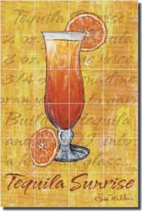 "Mullen Tequila Sunrise Cocktail Ceramic Tile Mural 24"" x 36"" - SM020"