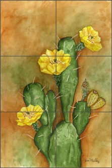 Cacti - Prickley Pear by Sara Mullen Ceramic Tile Mural SM022