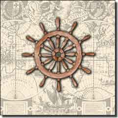 "Mullen Nautical Ship's Wheel Ceramic Accent Tile 6"" x 6"" - SM028AT"