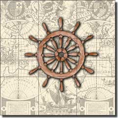 "Mullen Nautical Ship's Wheel Floor Tile Mural 24"" x 24"" - SM028"